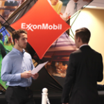 An ExxonMobil representative interviews a student at CDW