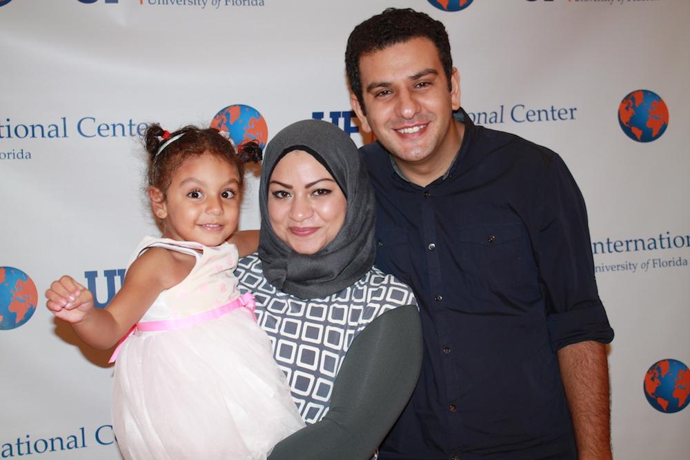 Rasha Elhesha with her husband and daughter