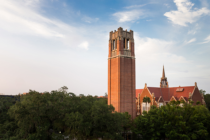 UF's Century Tower and University Auditorium