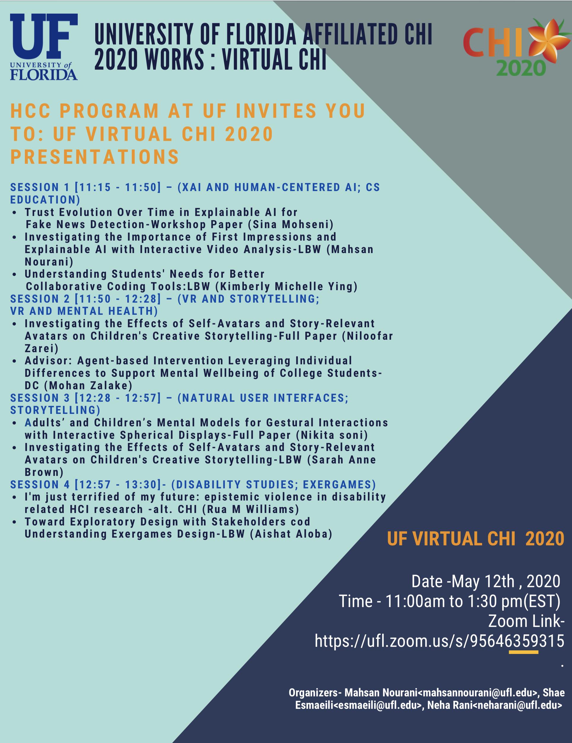 UF Affiliated CHI 2020 Presentations (Virtual)